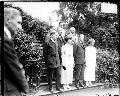 The Coolidge Campaign Family. L to R, front row: Dawes, Grace, CC, Mrs. Dawes, Frank Stearns, Campaign Chairman William M. Butler, Cal Jr. and John. Courtesy of the Library of Congress.