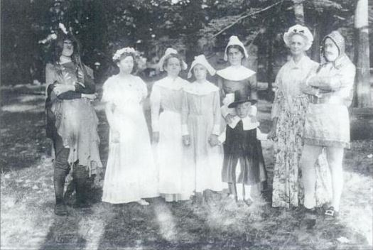 "Before the famous headdress shot as President, Mr. Coolidge furnished the part of Indian at the ""Wildwood"" Pageant for Thanksgiving in 1911. Notice Grace and John, as Pilgrims, stand third and fourth from the right, opposite Cal. He apparently scared his mother-in-law with his appearance upon peering in the window of their Northampton home. Photo courtesy of James M. Parsons. Parson's book ""Northampton,"" part of the Images of America series from Arcadia Publishing, 1996, p.79."