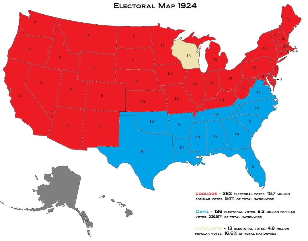"This electoral map not only underscores Coolidge's landslide but also the demographic differences under the 1920 Census from political conditions now. The Solid South, not nearly as solid as it appeared after Harding and Coolidge back-to-back victories, would continue to crack and finally shatter after four more years of Coolidge Prosperity. Hoover, piggybacking on Cal's record, would see six more states added to the ""red"" column: TX, OK, TN, VA, NC and FL."