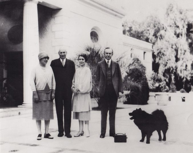 Matilda and Howard Coffin with Grace and Calvin Coolidge at their home on Sapelo Island. Tiny Tim stands beside the President.
