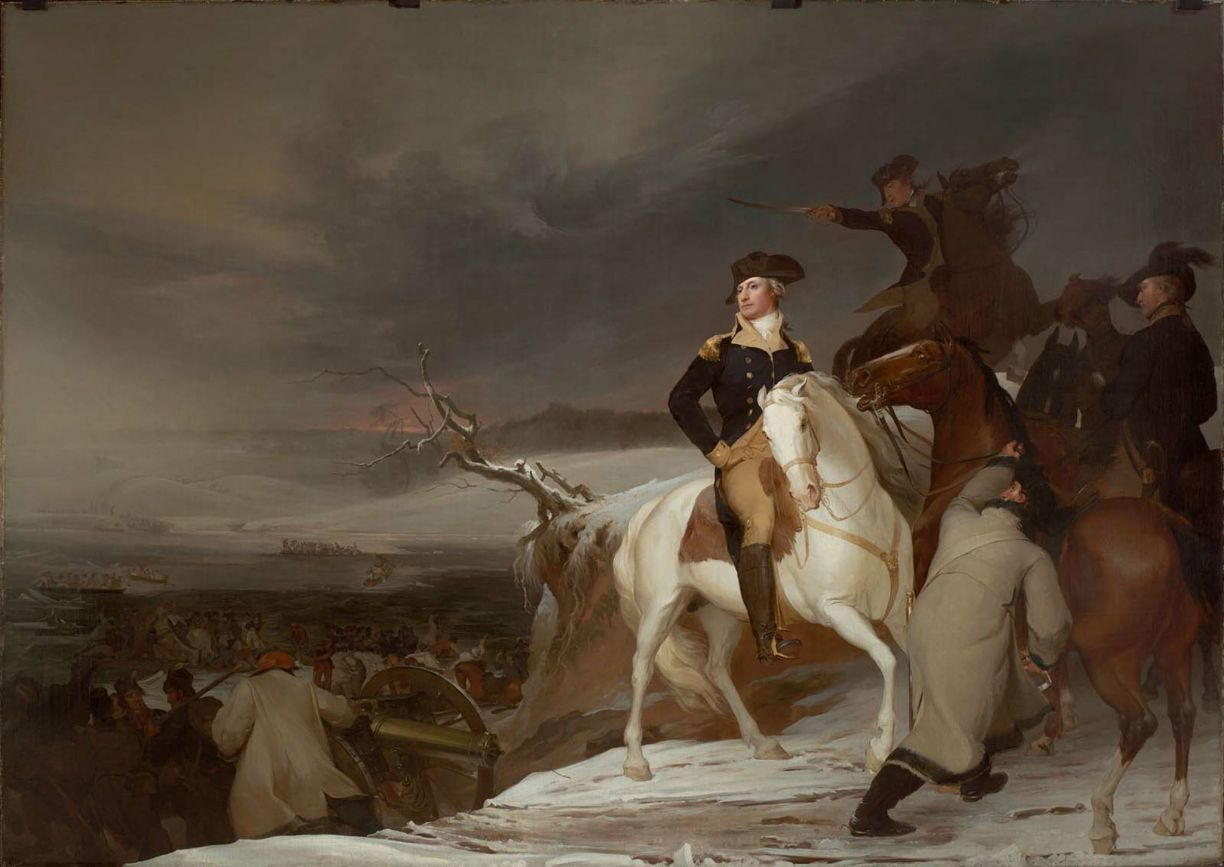 "Washington plans the attack in Thomas Sully's 1819 rendition, ""Passage of the Delaware."""