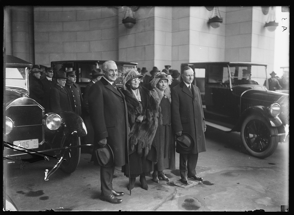 The Hardings and Coolidges at Union Station in Washington, prepared to begin a new administration together. Courtesy of the Library of Congress.