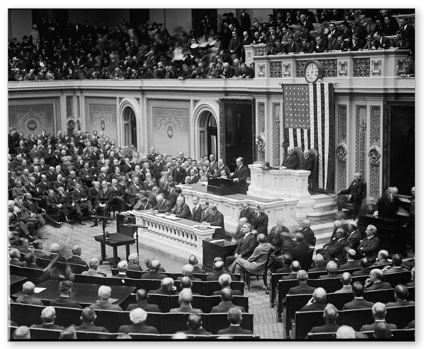 The President delivering his first Annual Message before the Congress, December 6, 1923. This continued the tradition established by President Washington and revived by Wilson and Harding to appear in person. However, this is the only occasion he did so. The rest of his tenure saw a written Message sent to Congress. This first time, however, was used to great effect, making possible a number of the proposals he saw come to fruition during his administration.
