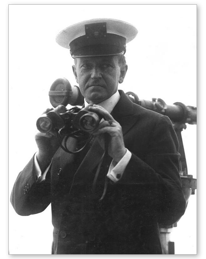 President Coolidge with his favorite cover aboard the Mayflower, 1925.