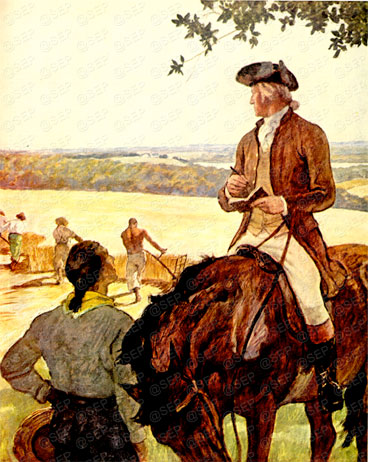 "Washington in peacetime, ""First Farmer of the Land"" by N. C. Wyeth, appearing in Country Gentleman, February 1946."