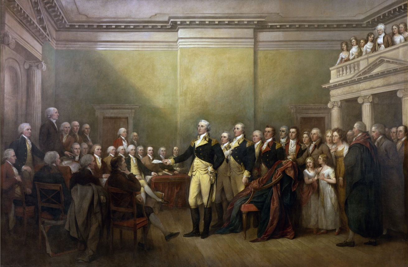 General Washington resigns his commission and returns to the work of peace, December 23, 1783. Painting by John Trumbull, 1817.