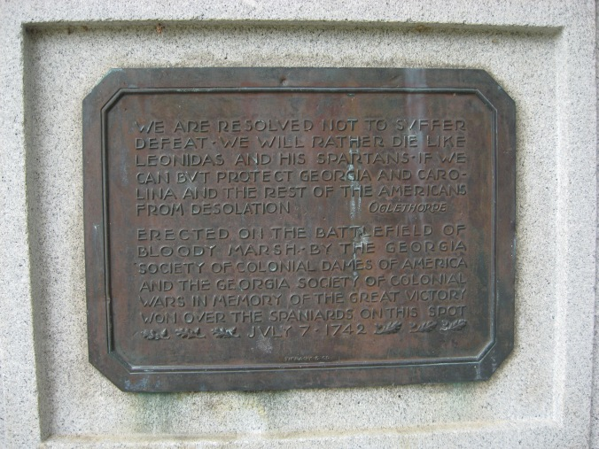 Here is the inscription on the marker at Bloody Marsh.