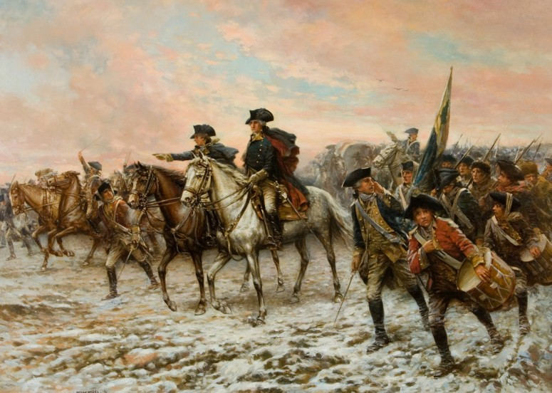 Lithograph in 1914 by Edward P. Moran depicting the capture of the enemy colors as the Battle of Trenton comes to a close, December 26, 1776.