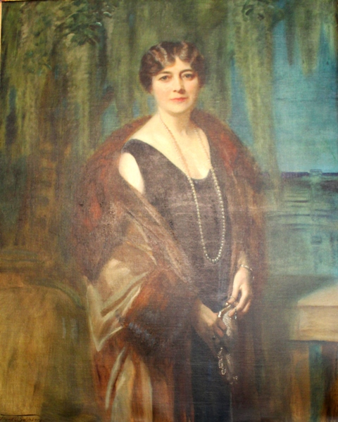 Matilda Coffin, wife of Howard. Like Salisbury's companion portraits of the Coolidges, the Coffins were done with the setting of Sapelo Island in the background.
