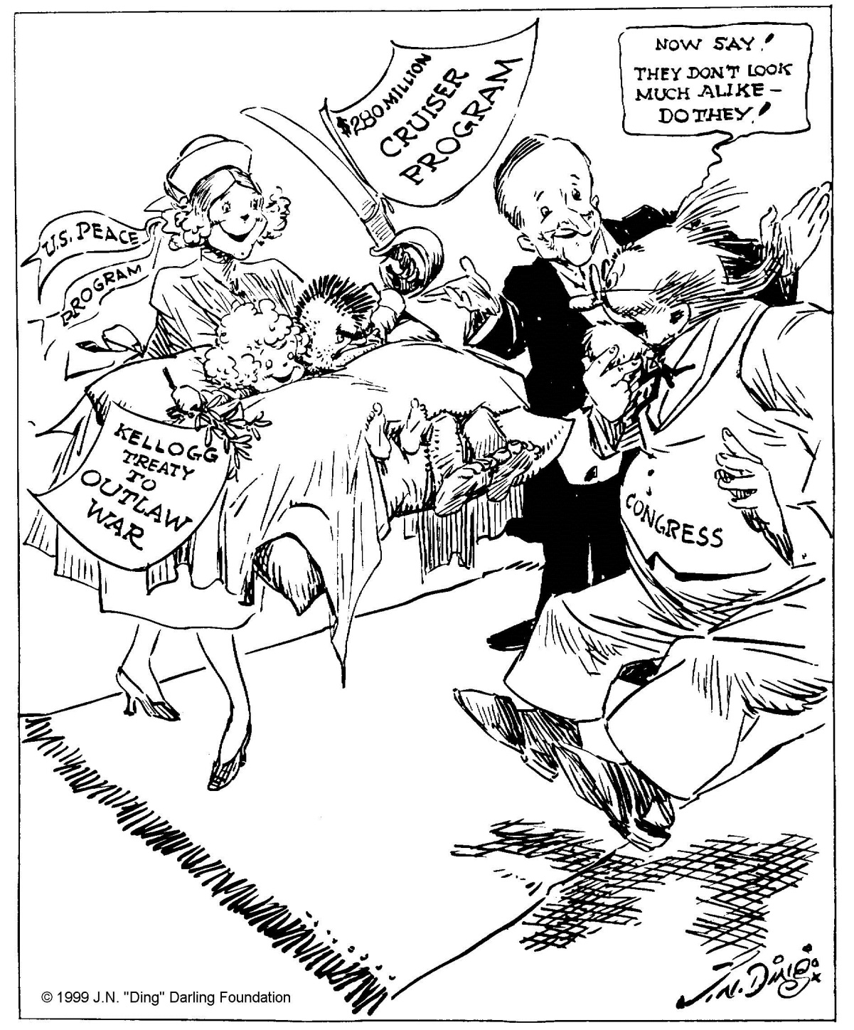 """Presenting him with twins,"" by ""Ding"" Darling, The Des Moines Register, November 28, 1928. Despite the cartoonist's not-so-veiled criticism at perceived inconsistency between these twin policies advanced by Coolidge, Cal reminds us that peace and adequate defense go hand-in-hand. One does not undermine the other. Cartoon courtesy of the Ding Darling Foundation."