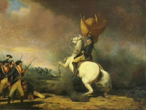Washington rallying the troops to victory at Princeton, January 3, 1777. Painting by William Ranney, 1847.