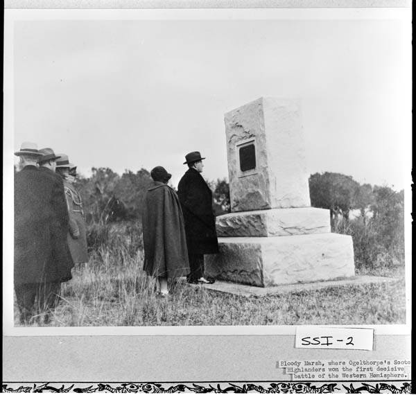 The Coolidges viewing the Monument at Bloody Marsh, Sea Island, overlooking the salt marshes where the battle was fought in 1742. Courtesy of the Georgia Archives.