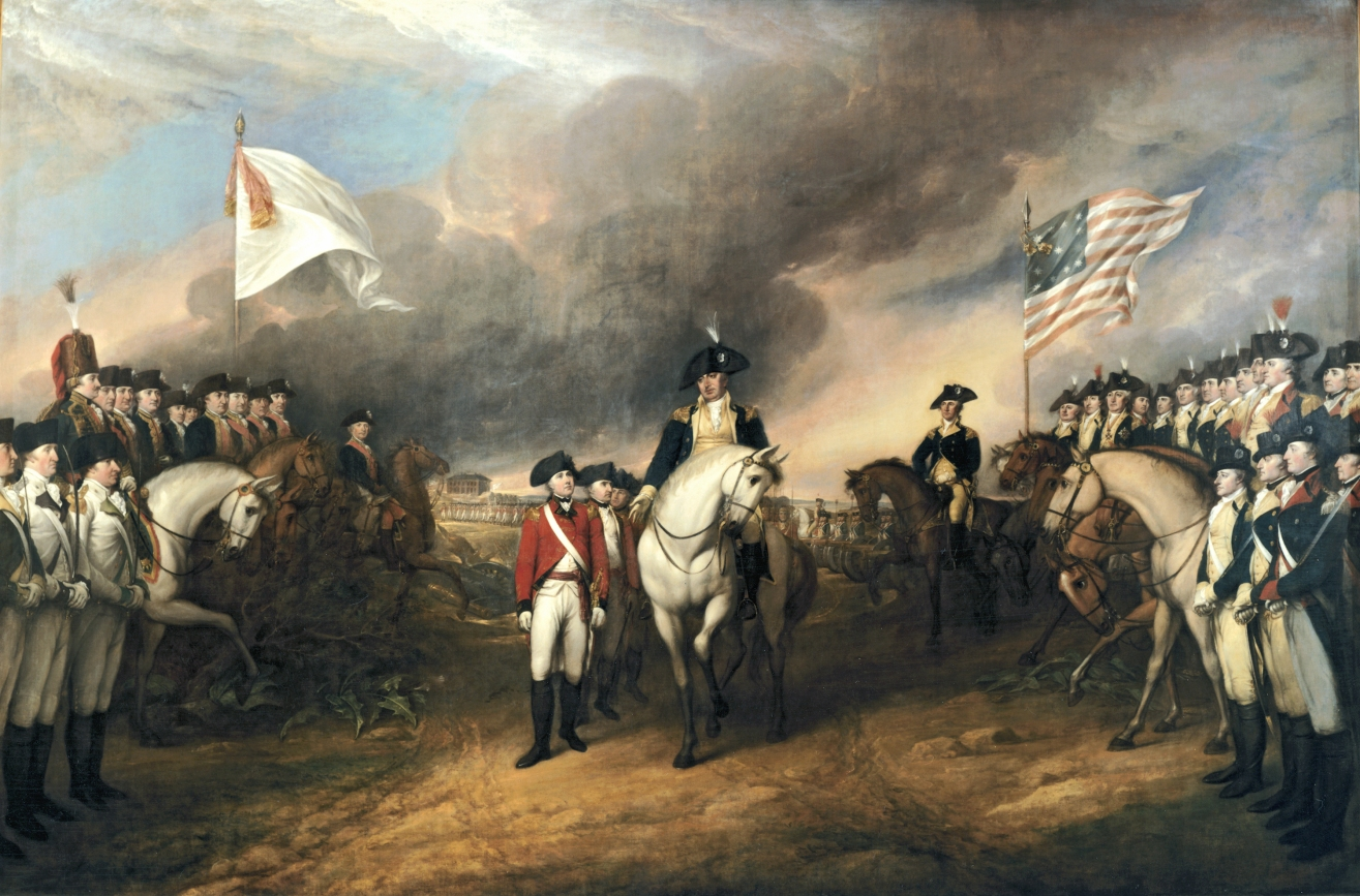 """Surrender of Lord Cornwallis,"" which took place on October 19, 1781. Painted by John Trumbull, 1817."