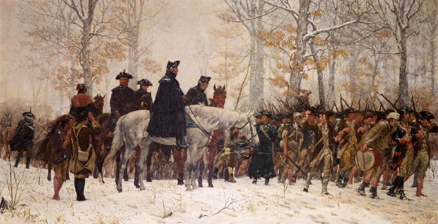 """The March to Valley Forge,"" where Washington and his men suffered the bitterest, harshest winter yet through December 1777. Painting by William Trego, 1883."