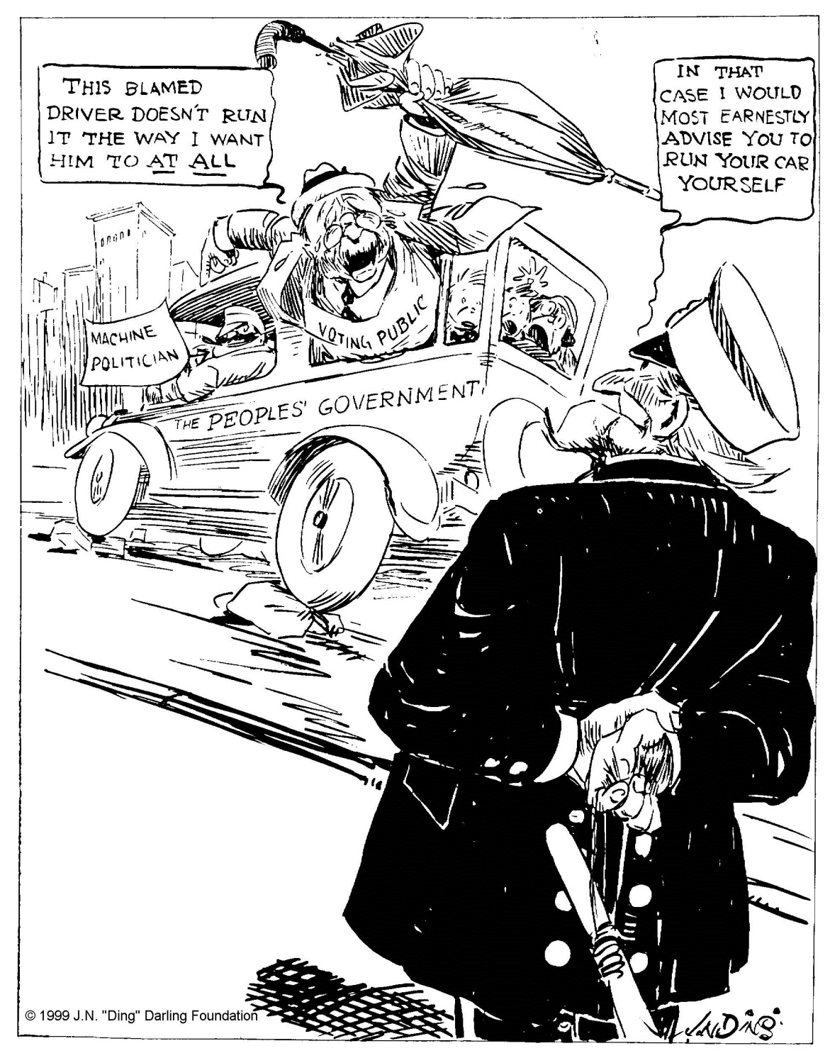 """They make 'em now so anyone of average intelligence can drive if he prefers,"" by ""Ding"" Darling, The Des Moines Register, December 3, 1922. Courtesy of the Ding Darling Foundation."