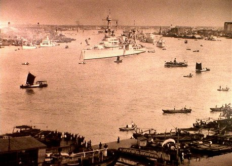 USS Houston (CA-30), launched from Newport News, Virginia, 7 September 1929, was dispatched to resolve the boiling conflict between China and Japan, 1932. Pictured here during that time with the Asiatic Fleet, Houston was heading to Darwin, Australia from Panay Island when the Japanese attacked Pearl Harbor. She went on to reinforce Timor, fight at the Battle of Java Sea and Banten Bay, engaging the enemy valiantly until sunk, the heroics of her officers and crew were not known to the world for nine months. She would earn a Presidential Unit Citation for her actions.
