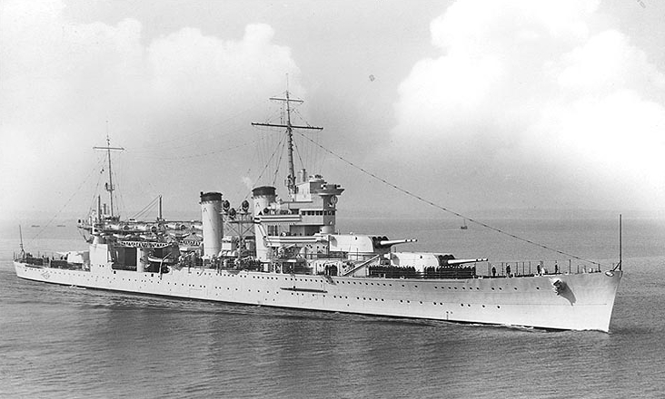 "USS New Orleans (CA-32), was laid down in New York Navy Yard on 14 March 1931 and launched on 12 April 1933. She was one of two Coolidge cruisers to be ""caught"" at Pearl Harbor when the Japanese attacked on the morning of 7 December 1941. After a desperate ten minutes under enemy assault, the entire anti-aircraft battery of New Orleans was in action against Japanese planes. She would survive that day to take part in each of the major offensives of the Pacific, from Coral Sea to Leyte Gulf to Mindoro, ending her career evacuating POWs and bringing them home. Decommissioned in 1947, she had protected carriers, hit her targets, supported landings and ensured ground success at Okinawa."