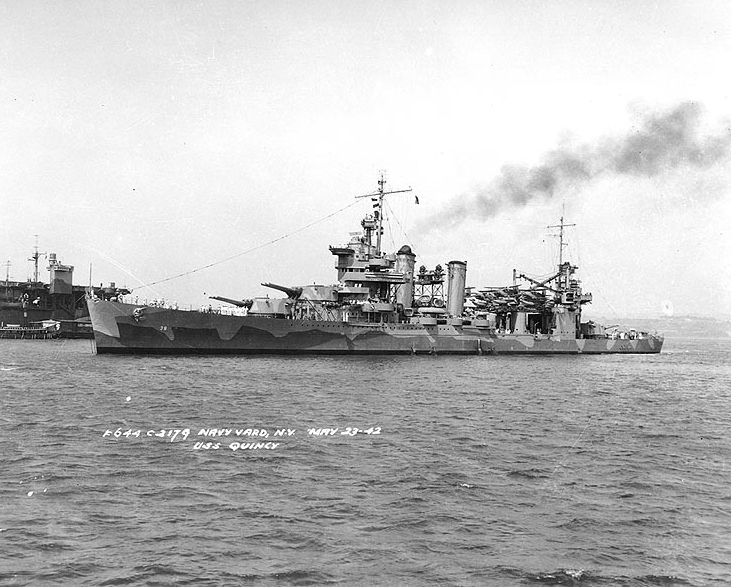 "USS Quincy (CA-39), was laid down by Bethlehem Shipping Corporation out of her namesake city, 15 November 1933, launching in 1935. Operating in the Atlantic for the next seven years, she finally transferred to the Pacific theater in order to assist with the upcoming Guadalcanal offensive, decimating a Japanese oil depot and other sites vital to their war effort, before being caught during a patrol off Savo Island by a large Japanese fleet early on 9 August 1942. Taking countless hits, her guns disabled, she sank with the loss of 379 men to the ocean floor, the first to descend into what would become known as ""Ironbottom Sound."""