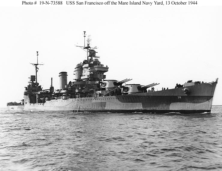 """USS San Francisco (CA-38), laid down at Mare Island Navy Yard, Vallejo, California on 9 September 1931, she was launched in March 1933. Beginning her career in the Pacific, she took part in the early tactical exercises called """"Fleet Problems"""" in the 1930s. Anchored for extensive repairs at Pearl Harbor on the morning of December 7, 1941, with all her weaponry dismantled and ammunition in storage, only small arms and two .30 caliber machine guns could be brought to bear against the onslaught of Japanese planes. By 0755 her crew was desperately seeking any means with which to fight back, some even crossing onto the New Orleans, employing her anti-aircraft guns.  Rapidly repaired for active service, San Francisco was soon out in search and support missions. Shielding American units in the area, she was contributed heavily to the Guadalcanal offensive alongside sister Minneapolis and two other Coolidge Cruisers, Salt Lake City and Chester. Continuing through operations all the way to Okinawa, San Francisco closed her service in Korea, receiving surrender of Japanese forces there by late August 1945. Retired on the east coast, she was decommissioned early in 1946, having more than compensated for her vulnerability at Pearl Harbor. She is the most decorated of the seventeen Coolidge Cruisers."""