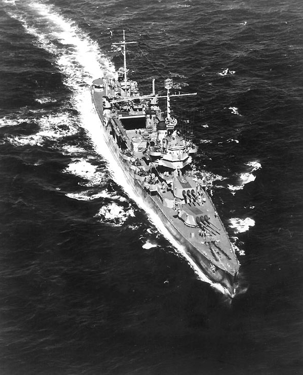 USS Vincennes (CA-44), laid down by the Bethlehem Shipping Company in Quincy, Massachusetts, 2 January 1934, and launched in 1936, it was the last of the cruisers authorized by President Coolidge under the 1929 Act. Maneuvering with the Neutrality Patrol off the coast of South Africa when she learned Pearl Harbor had been attacked and we were now at war, Vincennes completed her mission and returned to the States to outfit for war. Assigned to the Pacific, working in tandem with sister Astoria, she fought doggedly at Midway. At Guadalcanal, she preempted a counterstrike by the Japanese. Protecting the invasion landings on Savo Island, Vincennes and her sister Astoria and Quincy, prepared for an imminent attack, met one. Spotlighted in the dark by the Japanese, she opened her batteries taking out the light, only to meet a torrent of fire from the enemy before she could escape. Vincennes was hit 57 times until dead in the water, unable to fire back, finally sinking 9 August 1942 at 500 fathoms depth. Officers and crew abandoned ship, watching a great lady leave the surface after a brief but effective record in the Pacific.