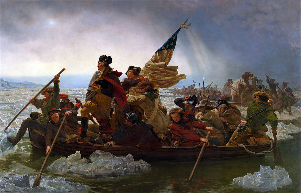 Artistic rendering of Washington making his night of December 25-26th crossing of the Delaware River, the first rapid maneuver that would catch the Hessian forces camped at Trenton by surprise. The painting, done by Emanuel Leutze in 1851 features inaccuracies, the foremost being the daylight and the presence of the American flag not adopted until the following year but it remains one of the most recognizable paintings ever produced. By crossing the river, Washington seized a momentum that would begin a turning of the tide for the American cause. It would eventually lead to the surrender of Burgoyne at Saratoga the next year.