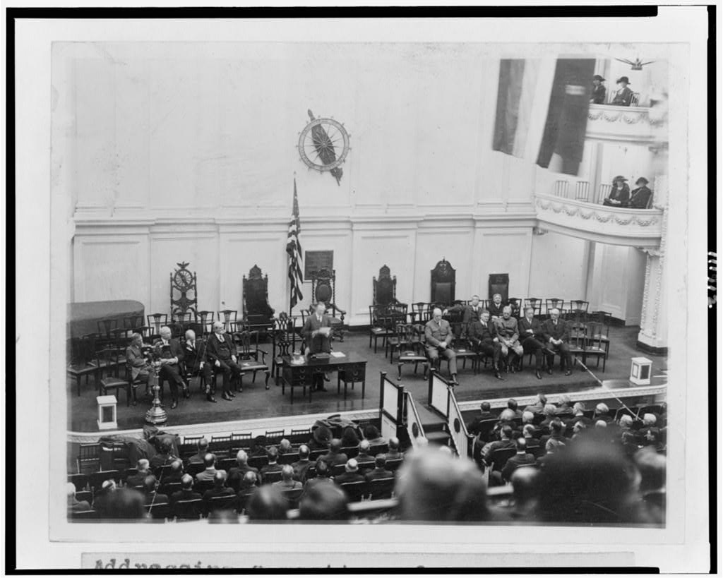 Then Vice President Coolidge presiding over the Regular Meeting of the Business Organization of the Government in Harding's absence, January 29, 1923.