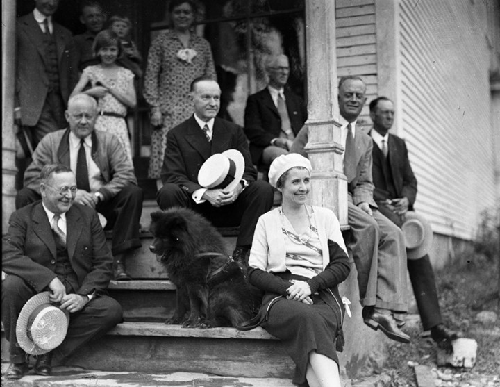 The Coolidges on the steps of the General Store, summer 1931. Courtesy of the Yankee Publishing Collection.