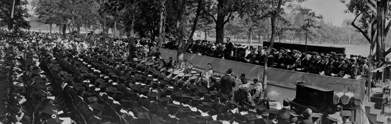 President Coolidge addresses the graduates, faculty and friends of Howard University, May 6, 1924. Courtesy of the Moorland-Spingarn Research Center of Howard University.