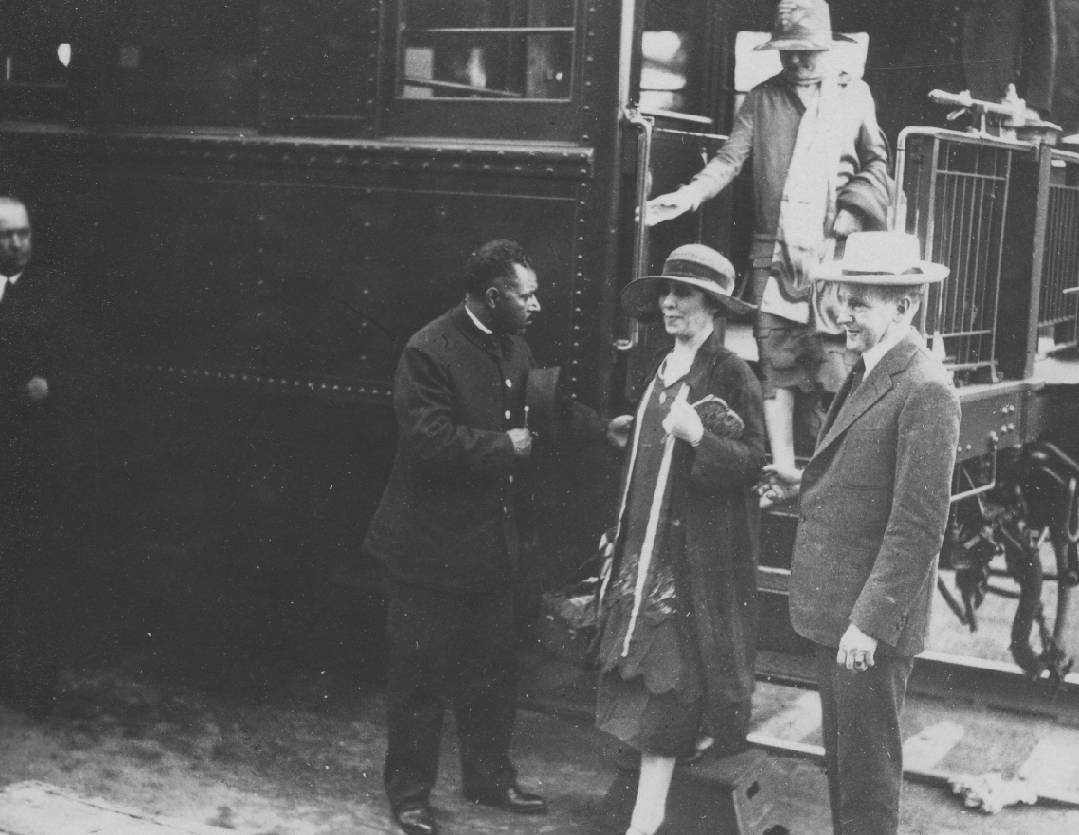 The Coolidges arriving in Saranac Lake, New York, summer of 1926.
