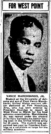Newspaper article from 1926 featuring the appointment of young cadet Van Marchbanks, Jr., to West Point by President Coolidge.