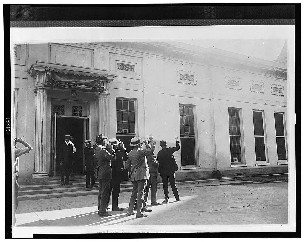 Watching the first solar eclipse during the Coolidge tenure from the Executive Offices, early morning of September 10, 1923. Courtesy of the Library of Congress.