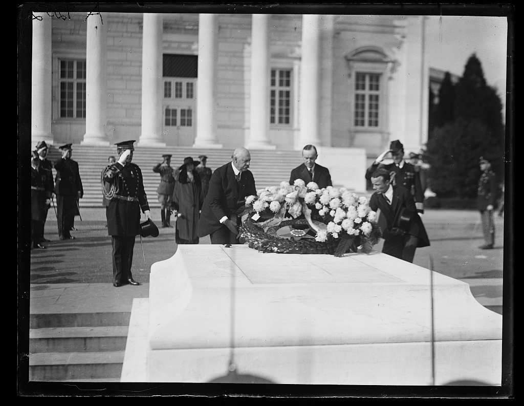 President Coolidge flanked by Secretary Weeks and Assistant Secretary Theodore Roosevelt, Jr., at the Tomb of the Unknown Soldier, 1923.