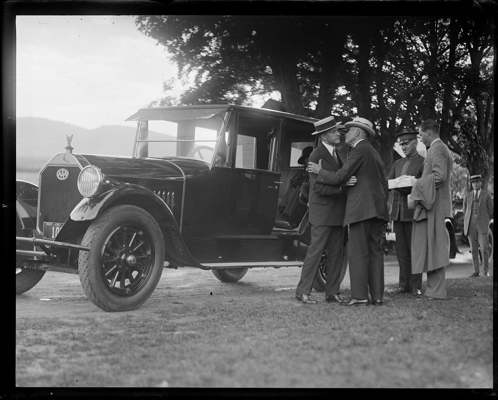 President Coolidge saying goodbye to his father, John. Courtesy of the Leslie Jones Collection.
