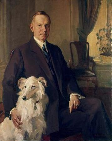 President Calvin Coolidge with Rob Roy painted by DeWitt Lockman, 1931.