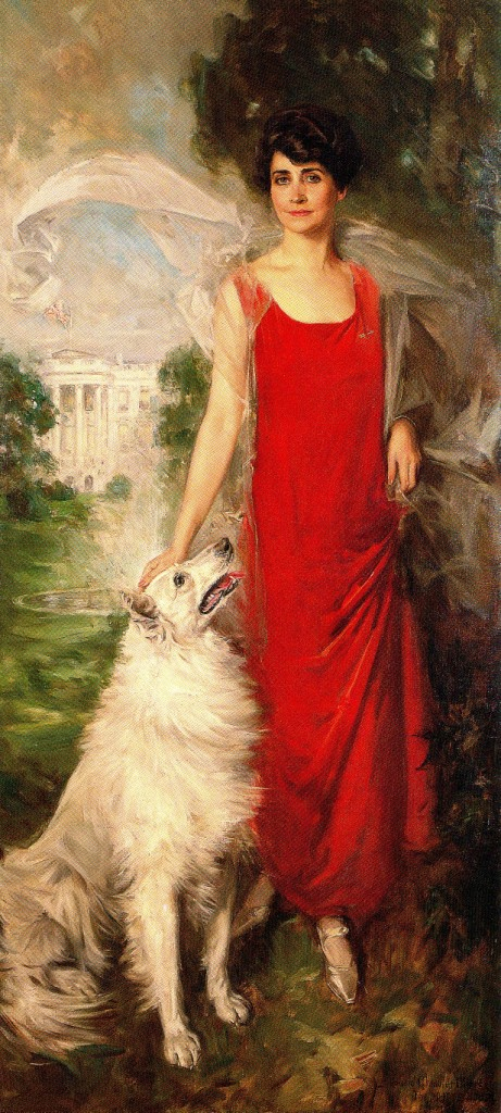 The famous portrait of Grace Coolidge with Rob Roy, painted by Howard Chandler Christy, 1924.