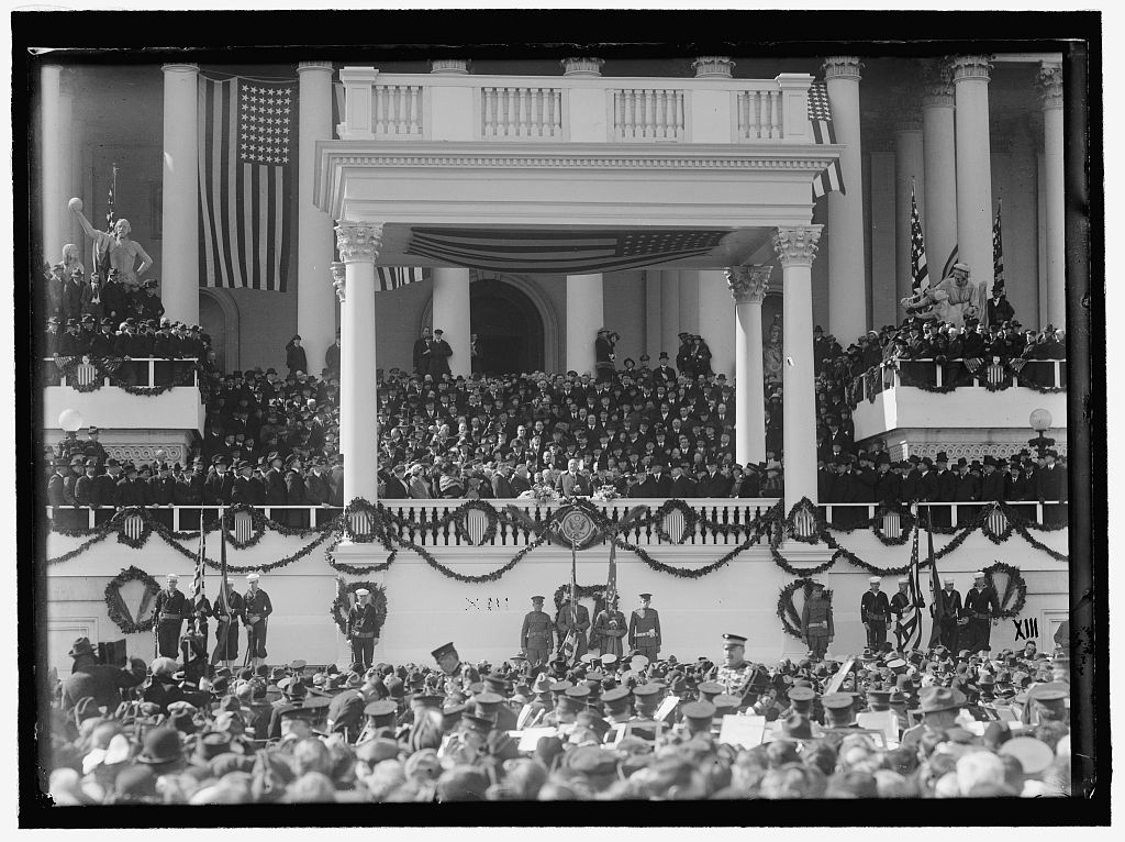 Inauguration Day, March 4, 1921. President Harding can be seen at center of the Inaugural Stand.