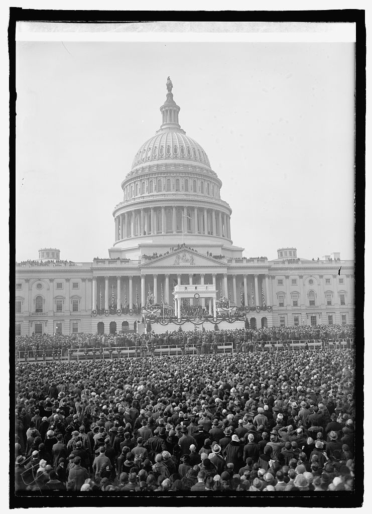 Inauguration Day, March 4, 1925, looking across the thousands gathered to witness the ceremony. Courtesy of the Library of Congress.
