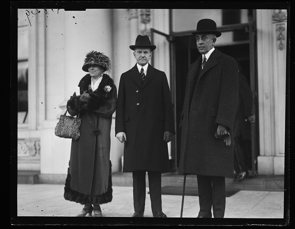 The President, First Lady and Mr. Slemp outside the White House, February 1924.