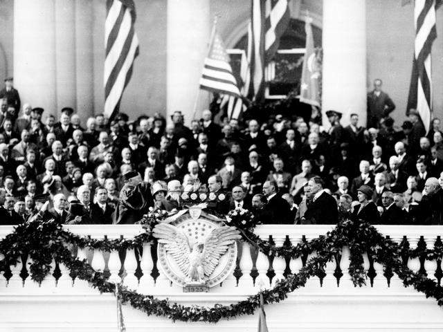 President Coolidge being administered the oath four years later, 1925.