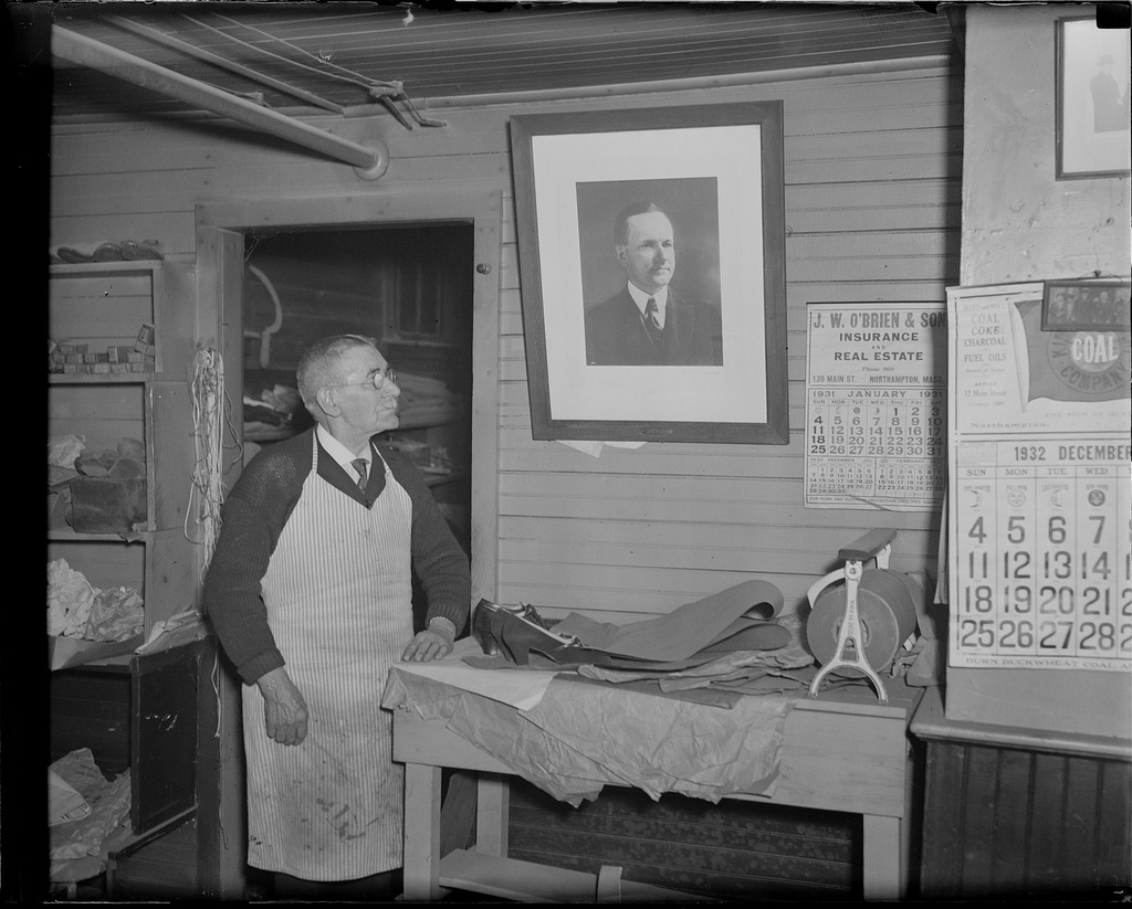 James Lucey in his shop, January 7, 1933.