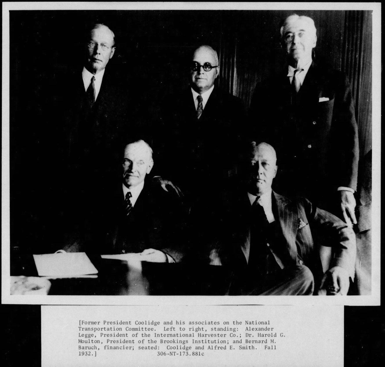 Mr. Coolidge was selected to chair the National Transportation Committee after his service in the White House but he warns fellow member Mr. Baruch against where committee proposals could very easily go, if allowed to do so. Photo courtesy of the National Archives.