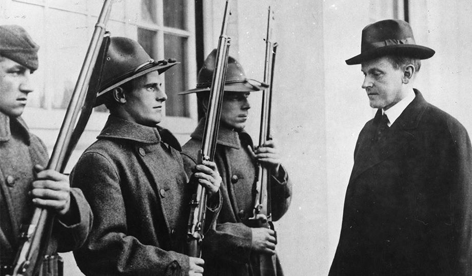 Governor Coolidge reviewing some of the State Guard, called to restore order and observance of the law in Boston.