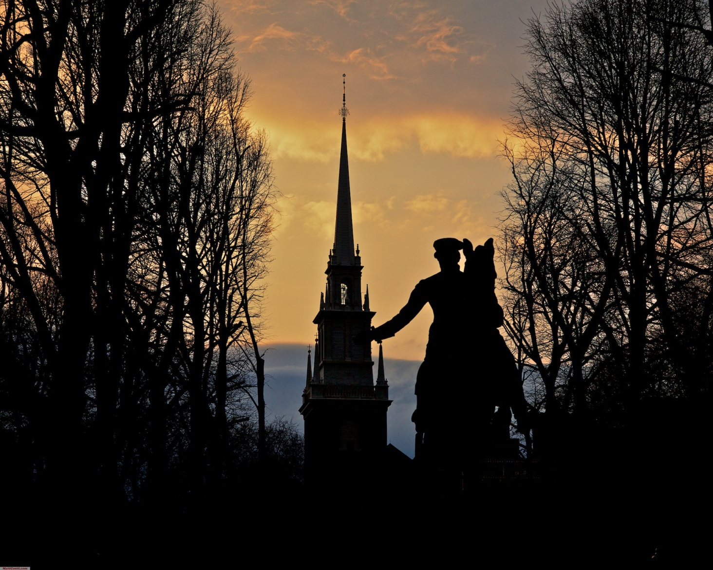 Old North Church with the statue of Paul Revere in silhouette. Photo courtesy of Matt Conti.