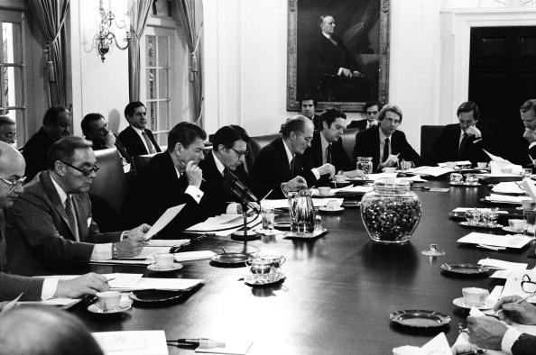Coolidge overlooking the Reagan Cabinet Room, 1981.