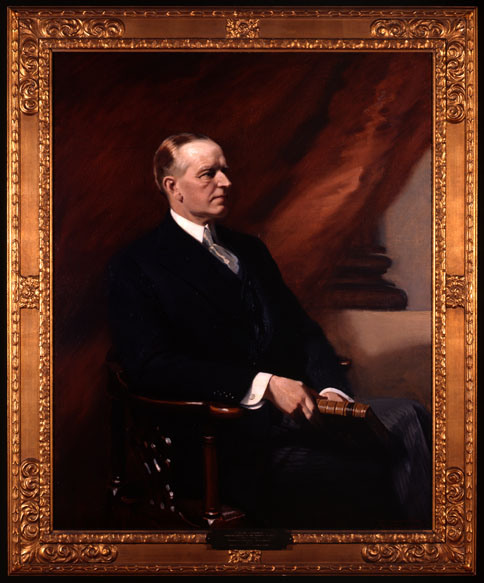 Calvin Coolidge, portrait completed posthumously by Frank O. Salisbury, 1934, for the American Antiquarian Society, Worcester, Massachusetts.