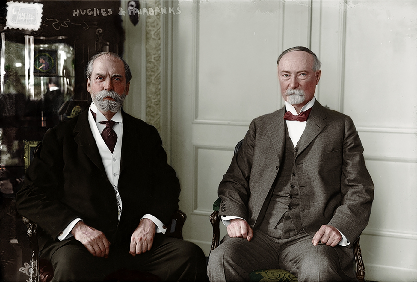 Charles Evans Hughes (left) and former Vice President under Theodore Roosevelt, Charles Fairbanks.