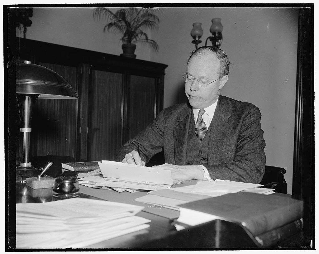Senator Taft shortly after taking office in the Senate, 1939. He hit the ground running and took many by surprise with his thoroughly reasoned and original critiques of what had gone virtually unopposed for six years before he arrived. Courtesy of the Library of Congress.