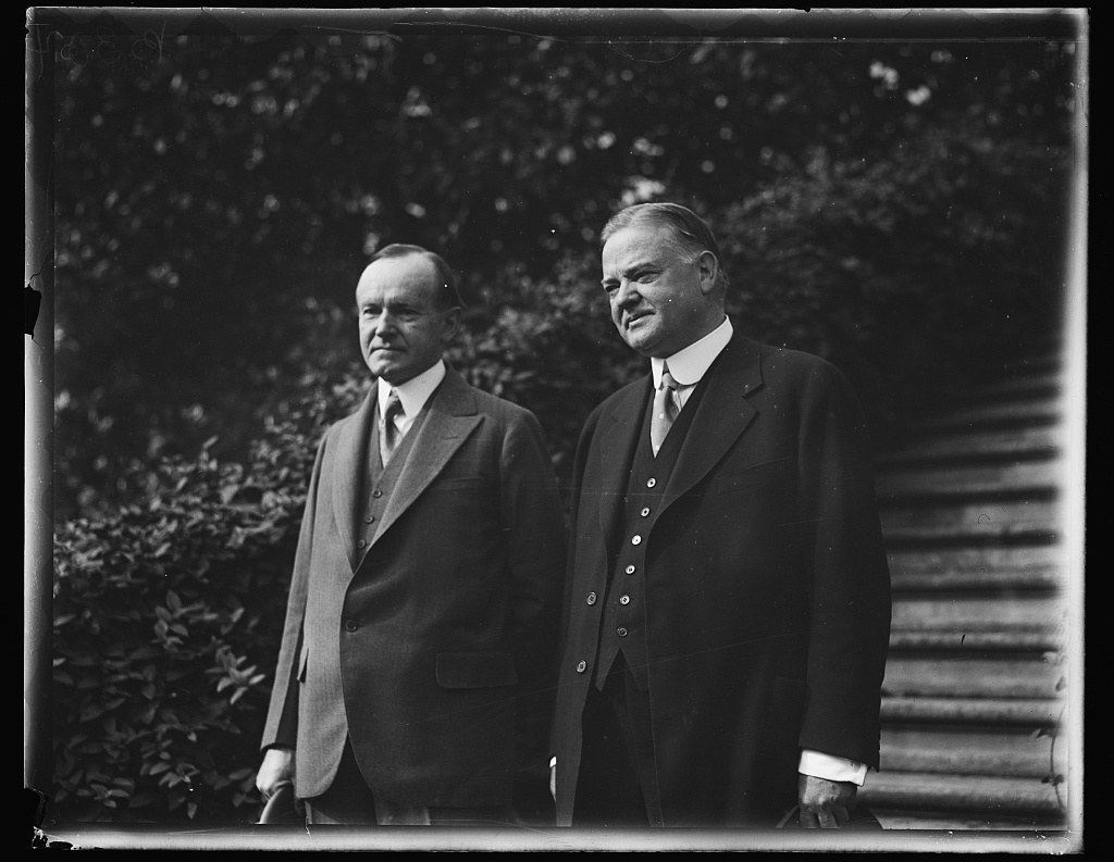 President Coolidge and GOP candidate Secretary Hoover at the White House, 1928. They were about as different in temperament and outlook as any one can be. Courtesy of the Library of Congress.