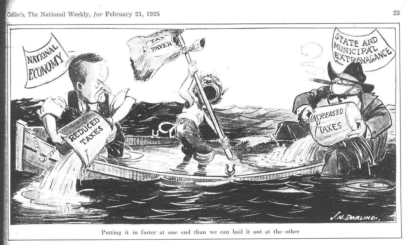 """Cartoon by """"Ding"""" Darling, """"Putting it in faster at one end than we can bail it our at the other,"""" The Des Moines Register, February 21, 1925. Courtesy of the University of Iowa."""