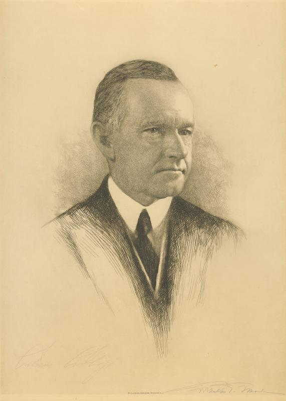 Portrait of Calvin Coolidge in pencil by Franklin P. Mead.